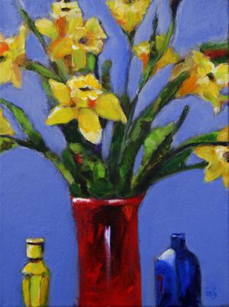 "Mary Kolada Scott ""Daffodils in January"" acrylic, 16 x 12 in."