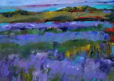 "Mary Kolada Scott ""Lost in Lavender"" acrylic, 20 x 20 in."