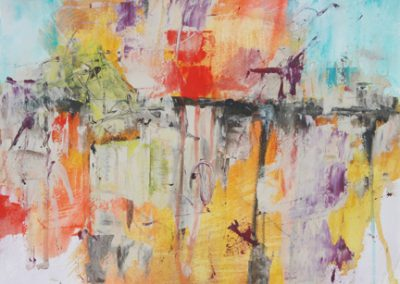 "Mary Kolada Scott ""Hot Spots"" mixed media on paper 10 1/4 x 14 in."